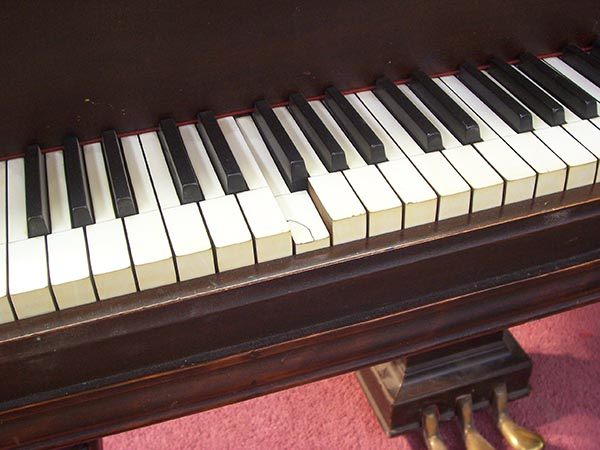 The ivory keys are chipped and splitting.